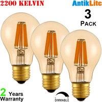 AntikLite A60 E26 Medium Based 60W 60 W Equivalent Incandescent Filament Style 8W 8 Watt E27