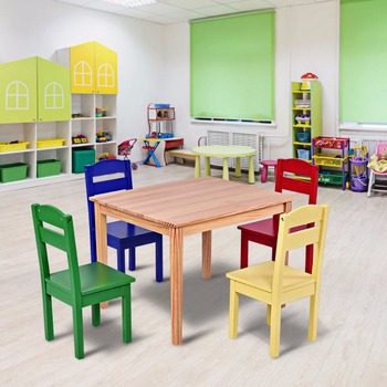 Goplus Kids 5 Piece Table Chair Set Pine Wood Multicolor Children Play Room Furniture HW55008