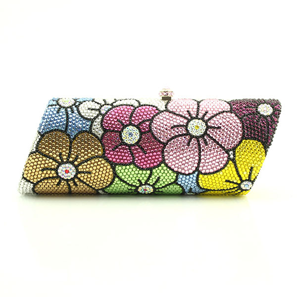 Exquisite Handmade Flower Pattern Crystal Ladies Party Purse Clutch Bag flower pattern bag aidocrystal sexy ladies black crystal purses crystal flower pattern clutch evening bag