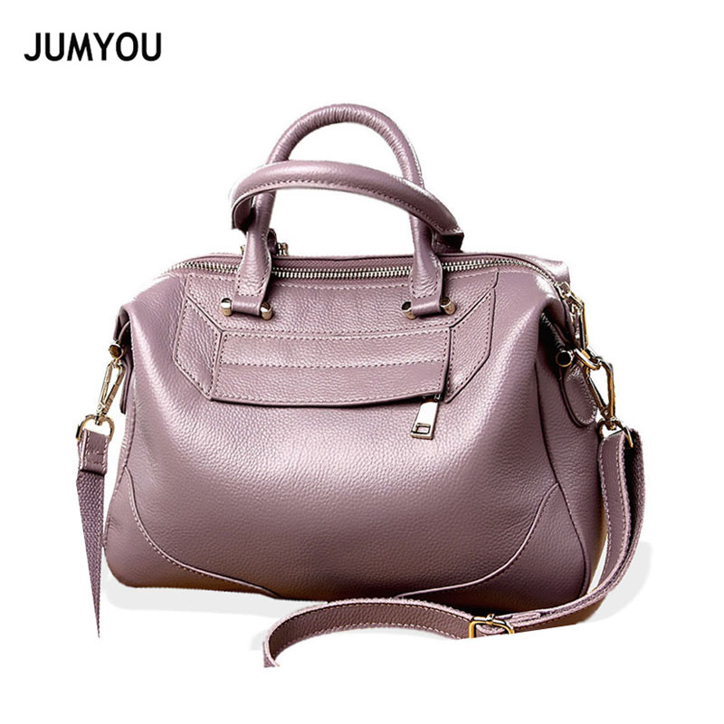 Genuine Leather Handbags For Women Fashion Simple Soft Shell Purple Handbags For Female Real Leather Cross body Bags For Ladies