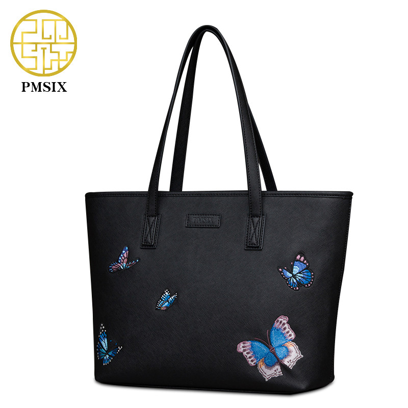Pmsix Butterfly Embroidery Handbags Women Bag Fashion Brand Ladies hand bag Pu Leather Lady Shoulder Bag Female Tote P240007 2017 pmsix new chinese style fashion shoulder bag elegant lady handbag leather printing embroidery female bag casual woman bag