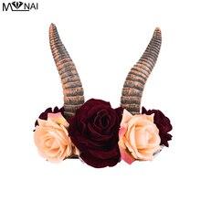 Bandeau gothique en forme de diable, pour enfants et adultes, bandeau, Cosplay, Halloween, accessoires pour cheveux, fleurs, Rose