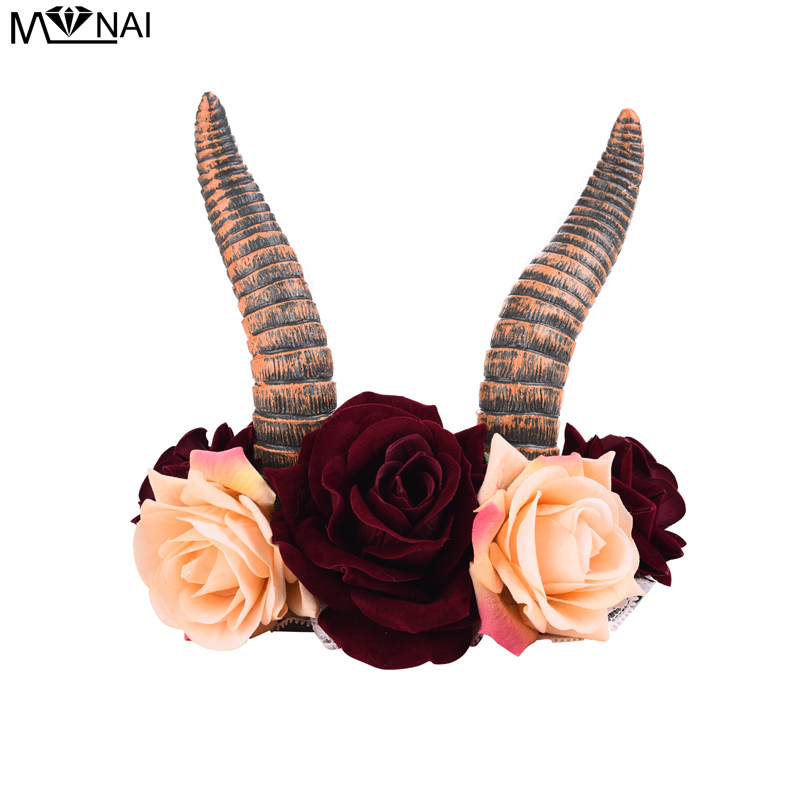 Gothic Animal Devil Horn Headband Kids Adults Cosplay Headwear Halloween Party Hair Accessories Rose Floral Crown Headpiece-in Boys Costume Accessories from Novelty & Special Use