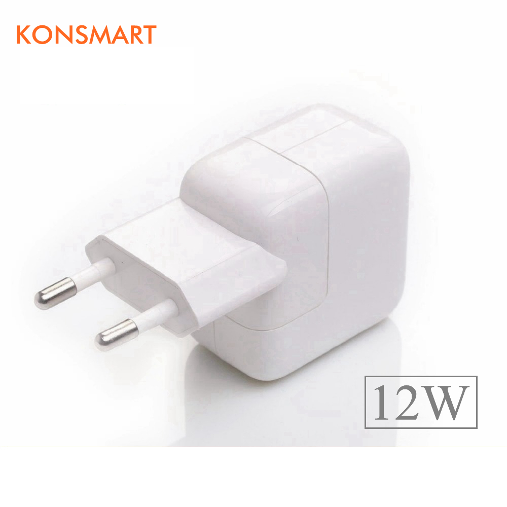 KONSMART Global Store KONSMART 2.4A Fast Charging 12W USB Power Adapter Travel Phone Charger for iPhone 5s 6 6s 7 Plus iPad Mini Air Samsung for Euro