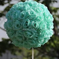 New 20cm Fabric Artificial Rose Kissing Ball Flower Wedding Birthday Home Furniture Decor Outdoor TF Blue F50