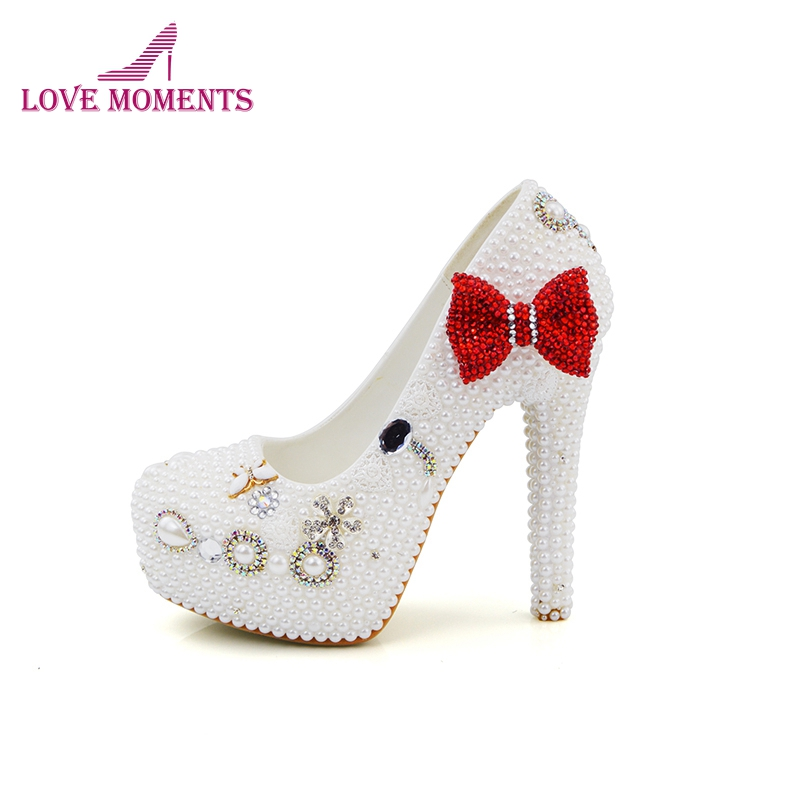 White Pearl Mother of the Bride Shoes with Red Bowtie Wedding Party Prom High Heels Cinderella Event Shoes Bridal Pumps the new 2017 diamond red bride wedding shoes pointed the bride wedding toast with velvet like shoes fashion