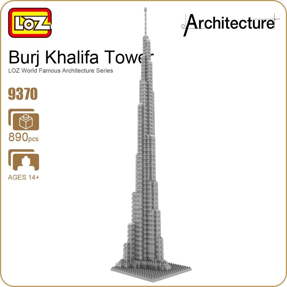 LOZ ideas Diamond Block Burj Khalifa Bubai United Arab Emirates Tower Architecture Famous Tallest Building Model Toy DIY 9370 loz creator mini diamond building block plastic jurassic dinosaur fossils mosasaurs skeleton model diy nanoblock educational toy