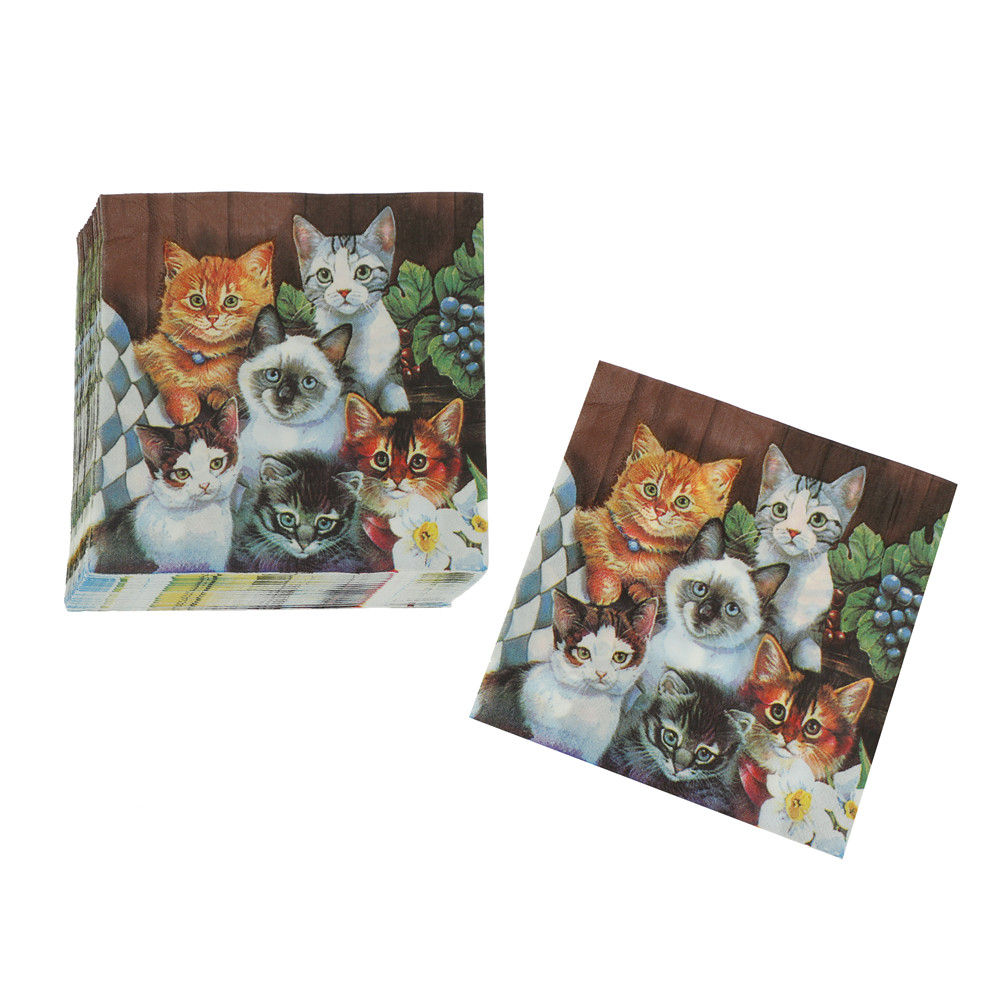 20Pcs/set 33x33Cm Cat Pet Paper Napkin For Girl Disposable Party Tableware Festive Party Supplies Tissue Decoration