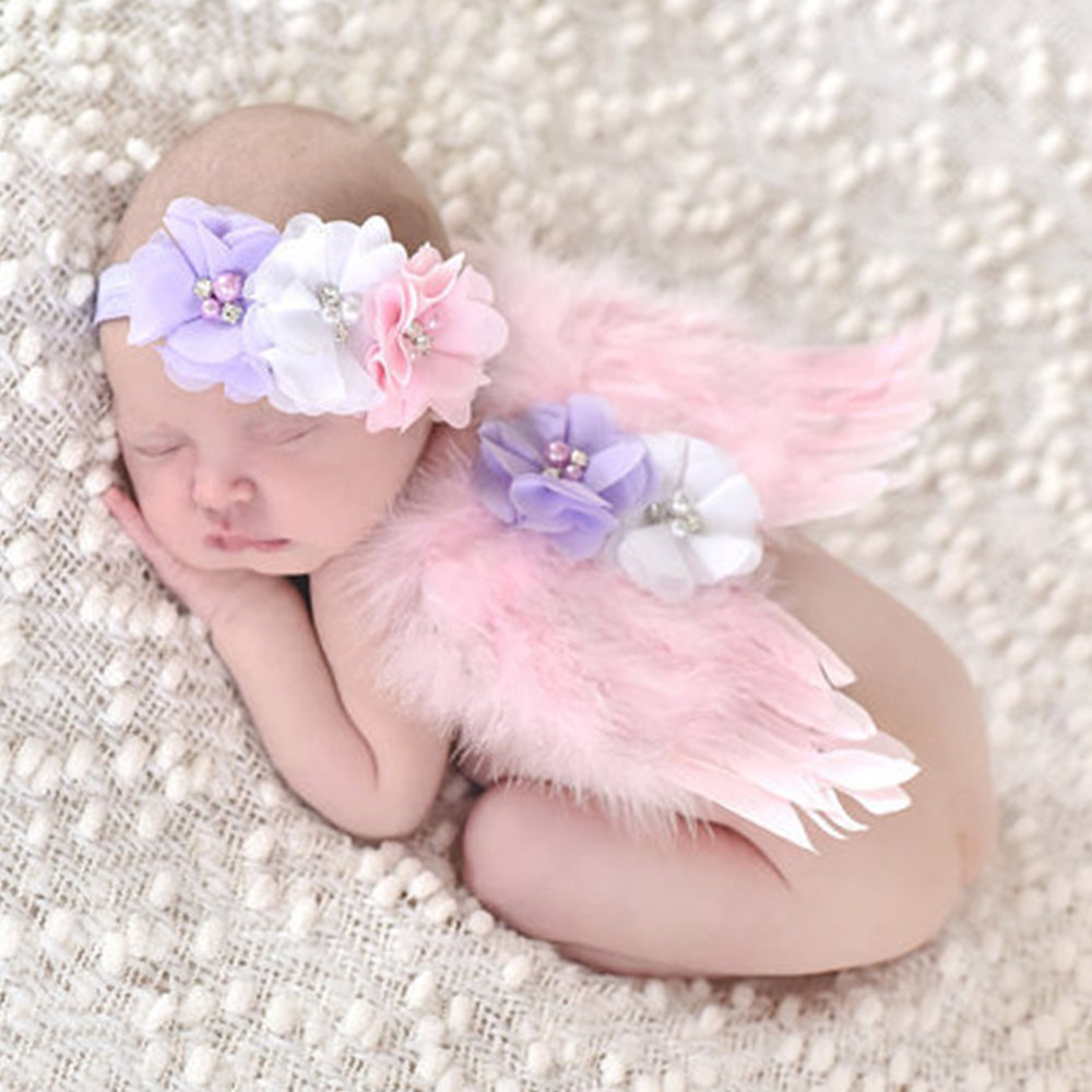 Cute Newborn Angel Wings Photography Props Infant Feather Costume Outfit Accessories Baby Boys Girls Flower Headband Cloths Set