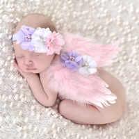 Nette Neugeborene Engel Flügel Fotografie Requisiten Infant Feder Kostüm Outfit Zubehör Baby Jungen Mädchen Blume Stirnband Tücher Set