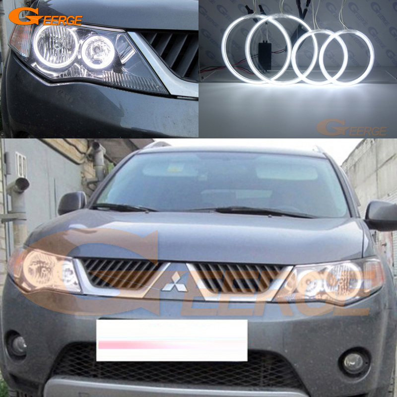 цена на For Mitsubishi Outlander 2007 2008 2009 HALOGEN HEADLIGHT Excellent Ultrabright illumination CCFL Angel Eyes kit Halo Ring