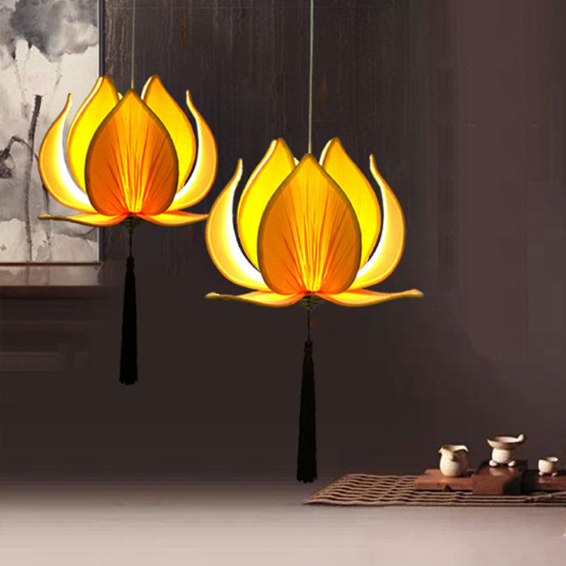 New Chinese fabric Lotus led pendant lights lamp Classical ...