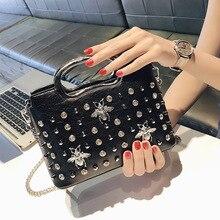 New Little Bee Bag fashion women shoulder bag Girl 2018 oblique chain handbag clutch female rivet purse crossbody bags for