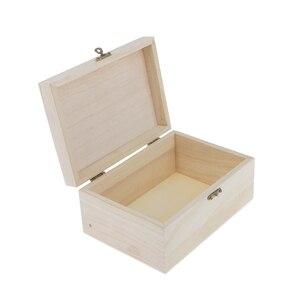 Image 2 - 8 sztuk niepomalowane drewniane ozdoby pudełko do przechowywania biżuterii pamiątka malarstwo rzemiosło artystyczne DIY przypadki