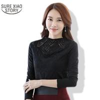 Newest Autumn 2016 Women S Long Sleeved Shirts Thin Lace Shirt Female Hollow Out Chiffon Shirts