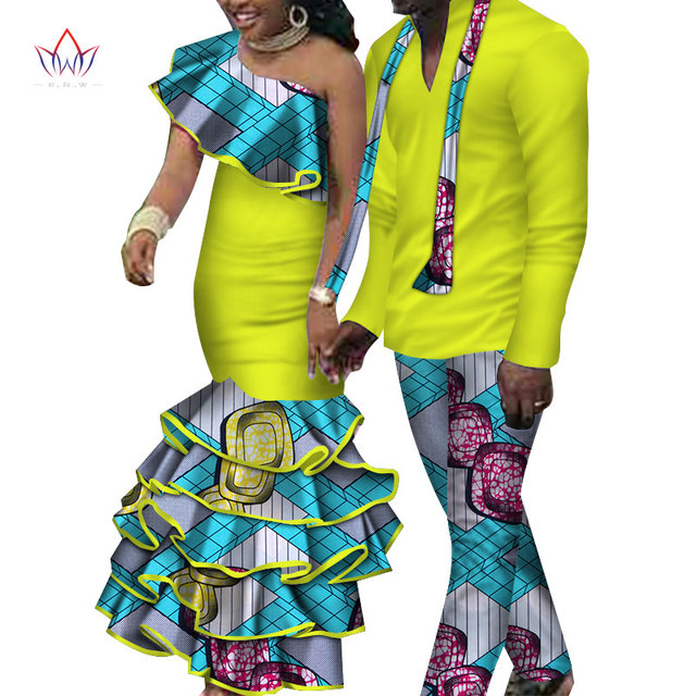9a076046e8352 US $105.59 12% OFF|2018 new Men Sets and women's clothing for the wedding  summer traditional african clothing couples matching clothing 4xl WYQ102-in  ...