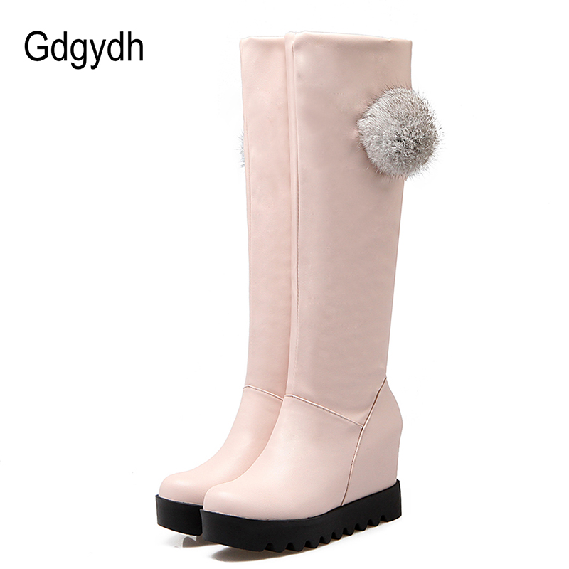 Gdgydh Real Fur Winter Shoes Women Fashion Knee High Boots 2017 New Autumn Winter Warm Ladies Outerwear Shoes Snow Boots Wedges new autumn winter parent child women red fox fur hats warm knitted beanies real fur cap high quality kitting female fur hat