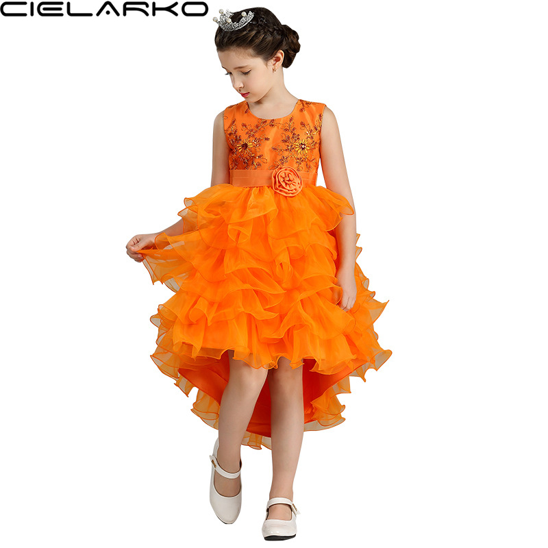 cielarko girl dress kids flower glitter sequin frock baby tutu evening party formal dresses children christmas