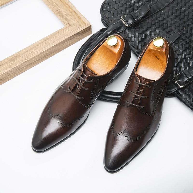 QYFCIOUFU High Quality Men Designer Dress Shoes Genuine Leather Formal Male Oxford Italian Classic Men 39 s Italian Wedding Shoes in Formal Shoes from Shoes