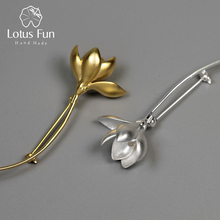 Flower-Brooches Magnolia 925-Sterling-Silver Lotus Fun Fine-Jewelry Real Women for Bijoux