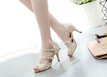 Ballroom Dance Shoes Light Gold Shine Cloth Salsa Latin Dance Shoes Sexy New Dance Shoes