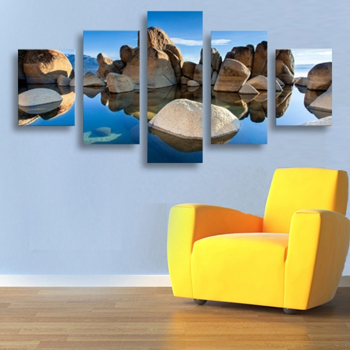 5 pieces framed wall art picture home decoration canvas print painting beautiful sea sunset wholesale landscape