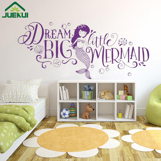 Dream Big Little Mermaid Kids Room Walls Decoration Quotes Vinyl Wall  Stickers For Bedroom Baby Nursery