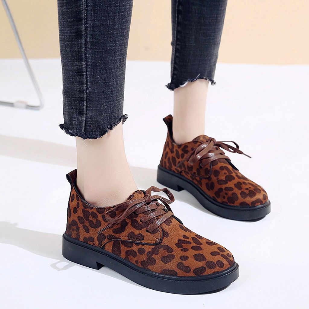 c8feba2814d SAGACE Shoes Women Round Toe Flock Lace-Up Single Shoes Square Heel Leopard  Print Jobs