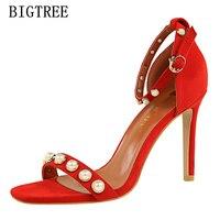 פנינת מותג יוקרה קיץ סנדלי janes מרי bigtree mulher sapatos אישה נעלי נשים סנדלי גלדיאטור נשים סנדלי עקבים גבוהים