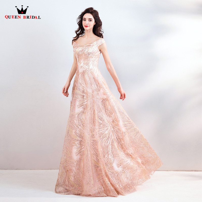 A-line Floor Length Sequin Tulle Elegant Long Formal Dress Evening ...