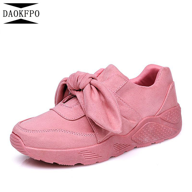 DAOKFPO Sneakers Women Flock Satin Bow New Spring Casual Shoes Basket Flats Female Platform Shoes Woman Shoes NVF-28