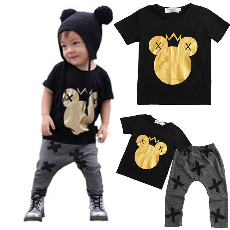 Gold Minnie Mouse Head Kids Baby Boys 2017 New Fashion Outfits Set Cotton T-shirt+ Cross Print Pants Casual Clothing