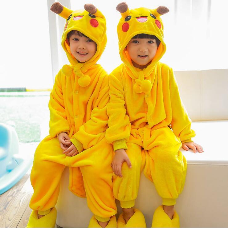 freepp Girls Boys Pajamas Sets Unicorn Stitch Panda Baby Onesie Sleepwear Children Cosplay Animal Onesies for Kids Comic Hooded
