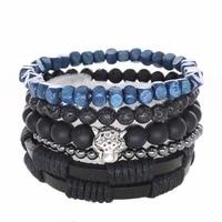 Leopard Punk Genuine Wrap Leather Bracelets Men Women Onyx Lava Hematite Jewelry Accessories Wholesale DIY Stone