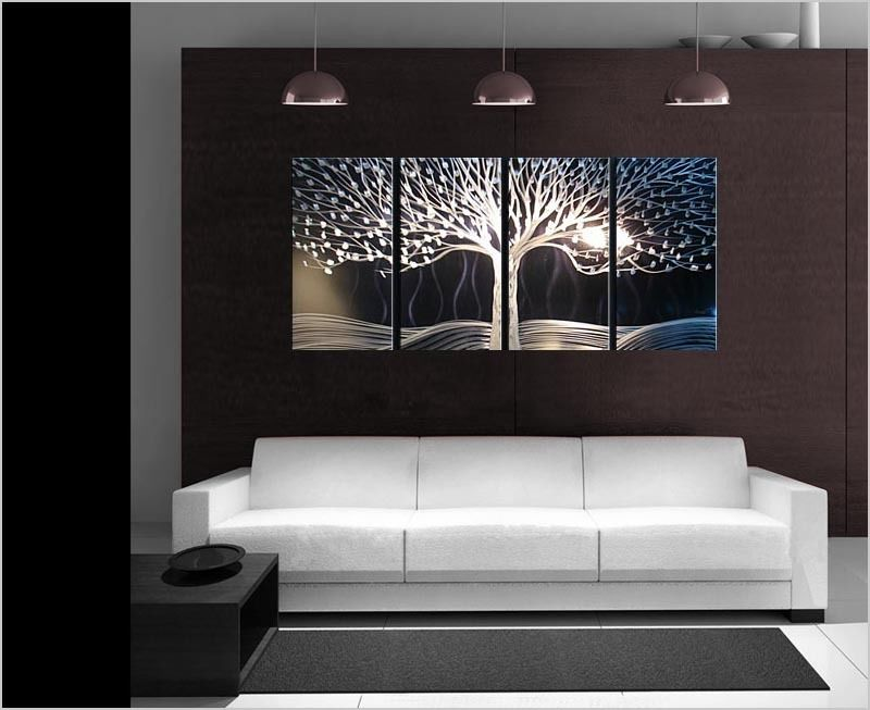 Art abstract special tree of life painting sculpture original modern metal wall indoor outdoor - Exterior metal paint colours decor ...