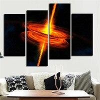 גודל גדול 5 תמונות אומנות ציור קיר מטוסי אור אדום יקום Planet והדפסי בד קישוט הבית ממוסגר