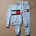Cartas moda Imprimir Camisola + Calças de Treino das Mulheres das Mulheres Outono Inverno Manga Longa Sportswear 2 Peça Set para As Mulheres