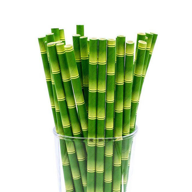 25pcs/lot Green Bamboo Paper Straws Happy Birthday Wedding Decorative Event Tropical Party Supplies Drinking Straw