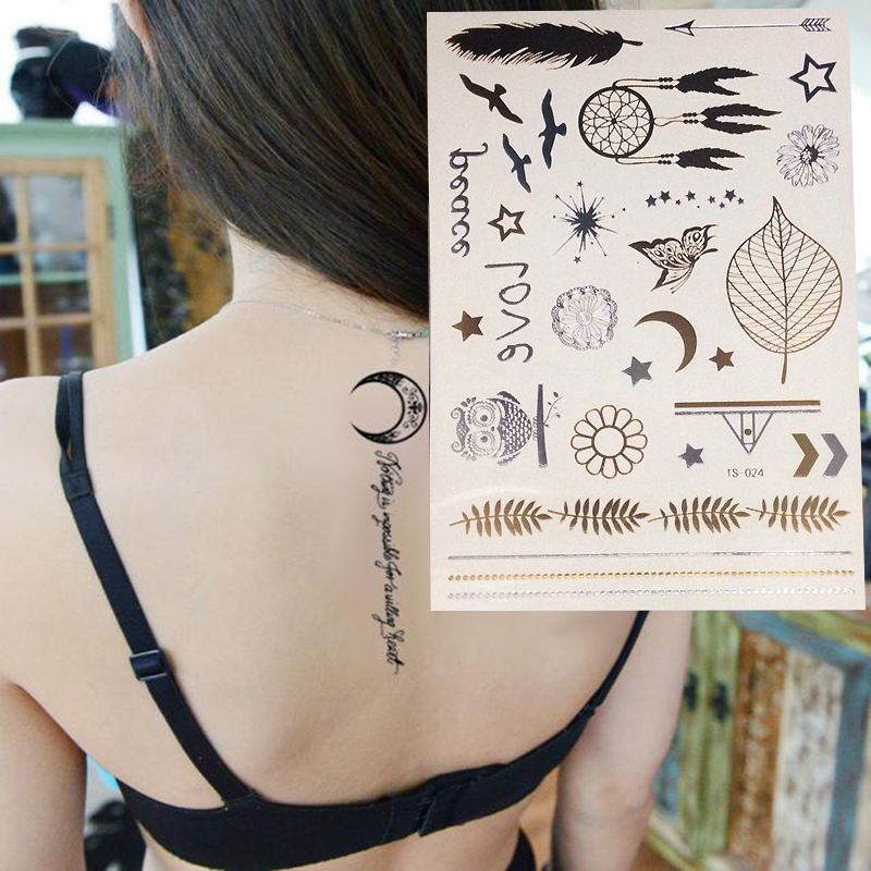 New Decal Flash Tattoo Metallic Gold Silver Temporary  Owl Feather Style Tattoo Sticker Charm Hot