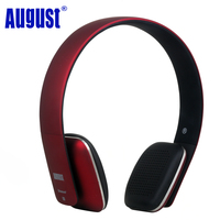 August EP636 Bluetooth Wireless Stereo NFC Headphones With Microphone Red