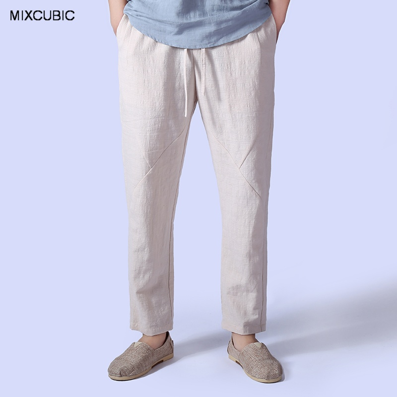 vasta selezione di 6bfa2 a467b US $20.58 28% di SCONTO|MIXCUBIC nuova primavera estate Inghilterra stile  fresco lino harem pantaloni uomo pantaloni casuali pantaloni di lino ...