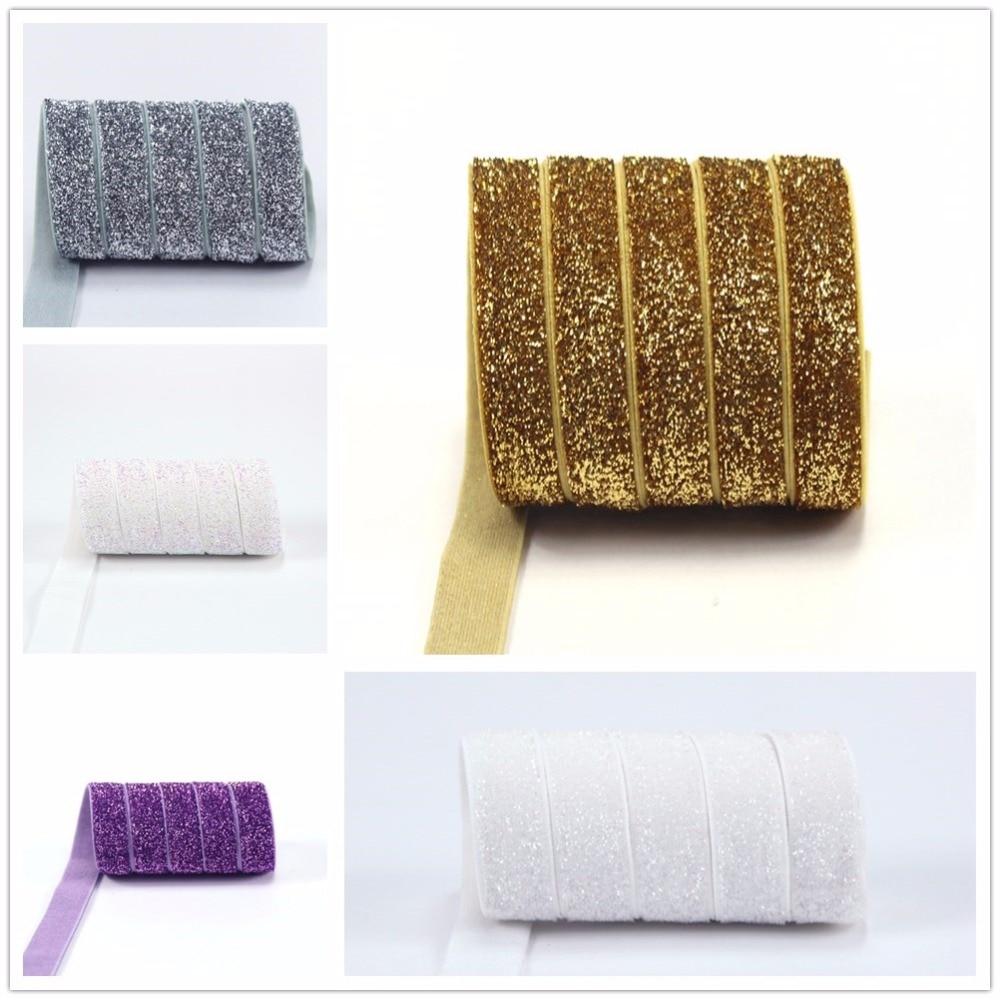 3/8 10 yards frosted glitter elastic Metallic Velvet Elastic for Hair Tie Headband Hair Bow