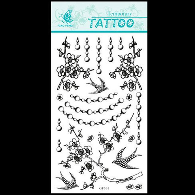 ①Ciruelo y Flying Bird patrón DIY papel Cuerpo belleza tatuaje ...