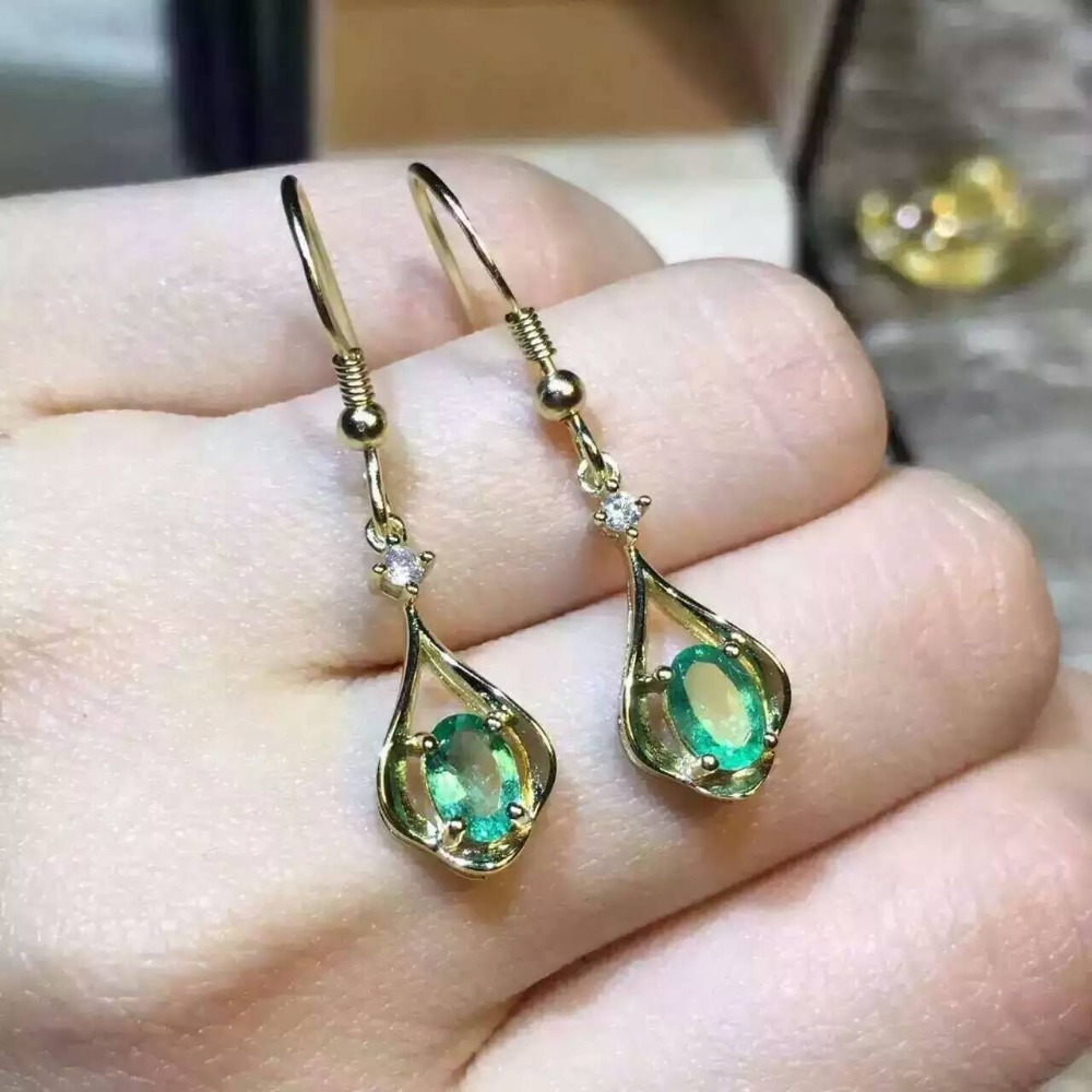 natural green emerald earrings 925 silver Natural gemstone earring women personality romantic fashion fine earrings for party