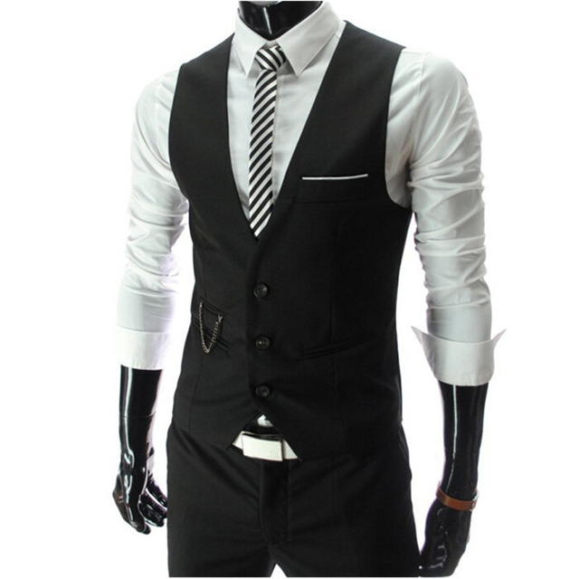 2017  Men Slim Fit Mens Suit Vest Male Waistcoat Gilet Homme Casual Sleeveless Formal Business