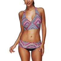 Two Piece Sexy Ethnic Style Print Halter Strap Split Swimsuit Bikini Plus Size 3XL Lace Up