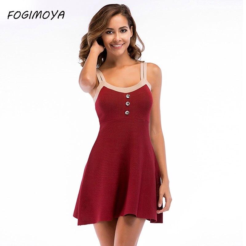 FOGIMOYA Dress Women 2018 Summer Solid Kniiting Strap Dress Womens Sexy Off The Shoulder Strap Dresses A Line Mini Dresses New