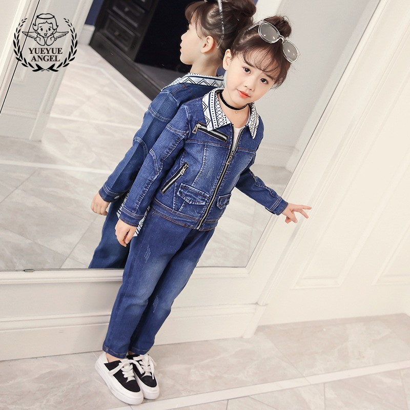 2018 Kids Fashion Spring Korean Style Denim Komplety Dla Dziewczynek Autumn Long Sleeve Jacket Jeans Clothing 2Pcs Girls Sets sokotoo men s colored painted snake 3d print jeans fashion black slim stretch denim pants