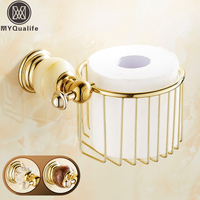 Free Shipping Crystal and Jade Golden Brass Roll Toilet Paper Holder Paper Tissue Basket Storage Shelf