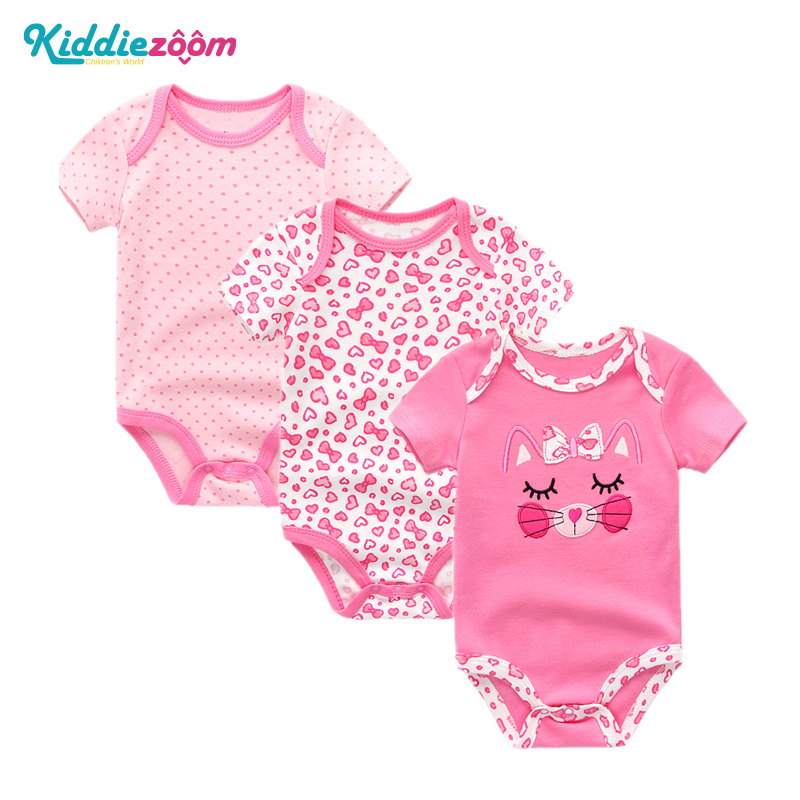 3PCS/LOT Baby Bodysuit Newborn Bebe Boy Girl Clothing 100%Cotton Short Sleeves O-Neck Striped Floral Infant Boy Clothes New Year(China)